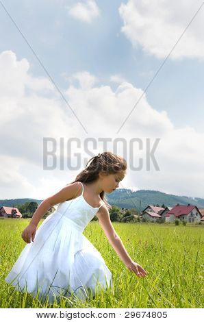 little girl on the meadow