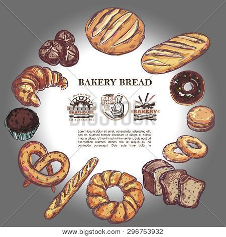 Sketch Bakery Products Round Concept With Bread French Baguette Croissant Pretzel Muffin Donut Bagel