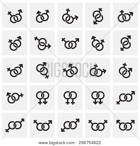 Gender Relations Icons Set On Squres Background For Graphic And Web Design. Simple Vector Sign. Inte