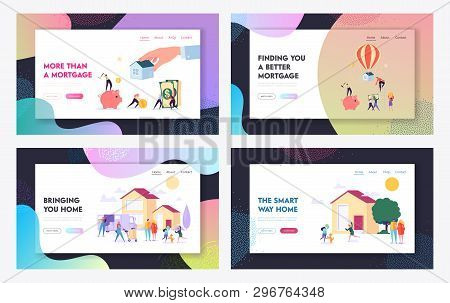Mortgage And Buying House Concept Website Landing Page Templates Set. Borrower Making Payment For Re