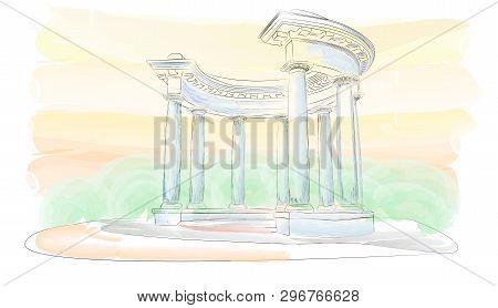 Sketch. Watercolor. Arbor With Eight Columns In The Doric Style, Europe, Ukraine, Poltava. Rotunda O