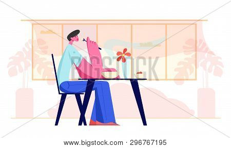 Young Man Sitting At Table In Restaurant Or Cafe Having Meal. Hungry Male Character Eating Food. Hos