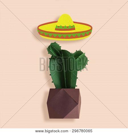 Symbols Of Cinco De Mayo Sombrero And Cactus Made Of Paper. Cinco De Mayo Is Federal Holiday In Mexi