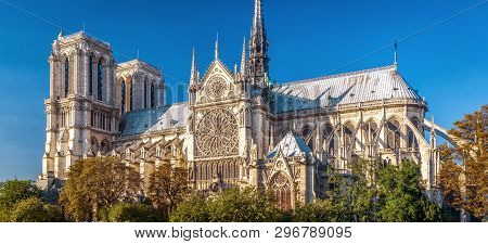Notre Dame De Paris In Summer, France. It Is One Of The Top Landmarks Of Paris. Scenic Panorama Of T
