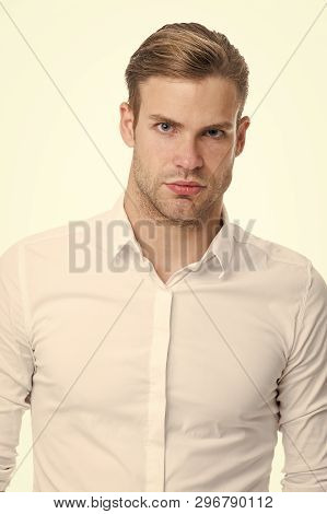 White Collar Worker. Man Well Groomed Unbuttoned White Collar Elegant Shirt Isolated White Backgroun