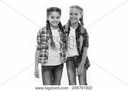 Girls Friends Wear Similar Outfits Have Same Hairstyle Kanekalon Braids White Background. Sisters Fa