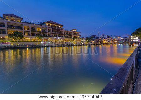 Melaka, Malaysia - 4 August L, 2018: Hotel De Casa Rio At Melaka, Malaysia During Blue Hour