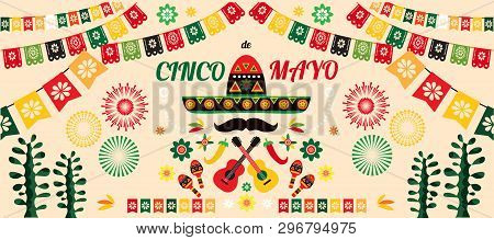 Happy Cinco De Mayo. Festive Cinco De Mayo Colorful Template  Poster Design. Perfect  For Your Holid