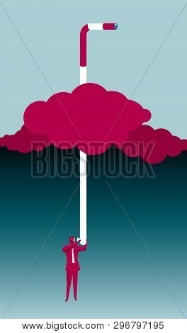 Businessman Peeping Using A Periscope. Extends To The Stratosphere.
