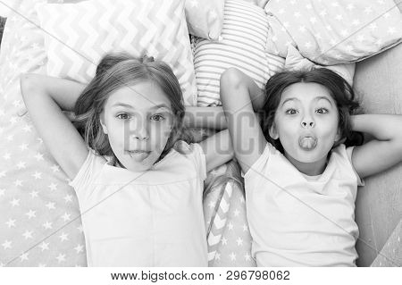 Children Playful Cheerful Mood Having Fun Together. Pajama Party And Friendship. Sisters Happy Small