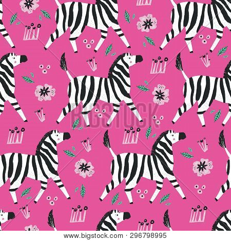 Zebra Flat Hand Drawn Seamless Pattern. Wild Savanna African Animal Cartoon Character Wrapping Paper