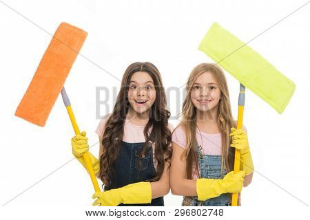 Adorable Clean Freaks. Cute Girls Holding Mops For Cleaning Floor. Small Cleaning Ladies. Little Cle