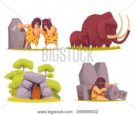 Caveman 2x2 design concept set of primitive men dressed in animal pelt busy with everyday worries cartoon vector illustration poster