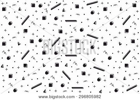 Abstract Random Geometric Shapes Seamless Background. Contour Shapes With Sour Cream Fill In Random