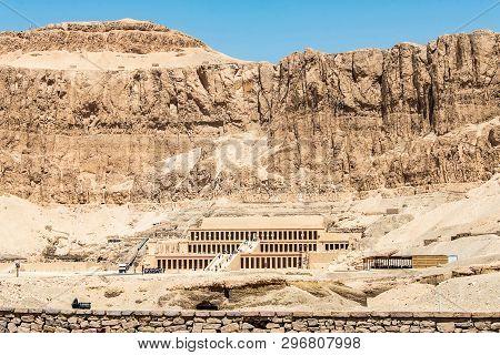 Luxor Egypt 18.05.2018 The Antique Temple Of Female Pharao Hatchepsut Near Luxor In Egypt
