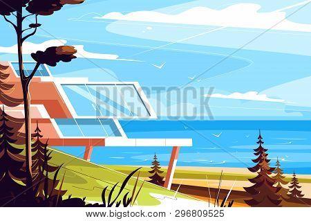 Designer House On Seashore Vector Illustration. Architectural