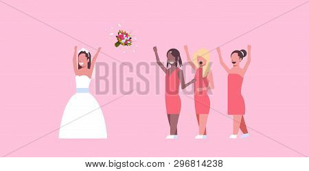Bride In White Dress Throwing Bouquet For Mix Race Bridesmaids To Catch Girls Having Fun Wedding Day