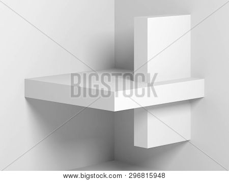 Abstract Digital Background White Installation On The Wall. 3d Render Illustration