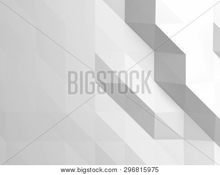 White Digital Low Poly Pattern. Abstract Cg Background Texture, 3d Illustration