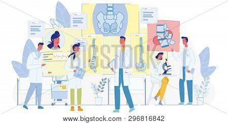 Human Spine, Vertebral Column Diseases And Problems Diagnostics And Treatment Flat Vector Concept. F