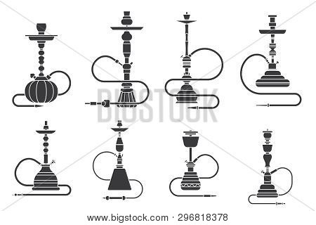 Silhouette Hookah Shisha Turkish Aroma Lifestyle Oriental Culture Smoke Cloud Arabian Cafe Set Vecto