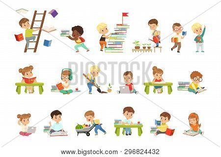 Smart Little Kids Reading Books Set, Cute Preschool Children Learning And Studying Vector Illustrati