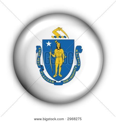 Round Button Usa State Flag Of Massachusetts