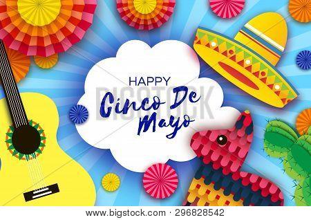Happy Cinco De Mayo Greeting Card. Paper Fan, Funny Pinata, Guitar, Cactus In Paper Cut Style. Origa