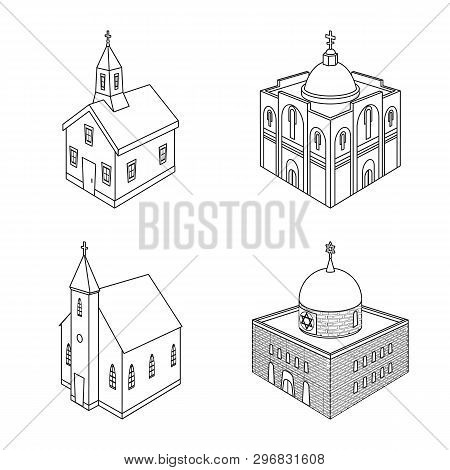 Vector Illustration Of Architecture And Building Sign. Collection Of Architecture And Clergy Stock S