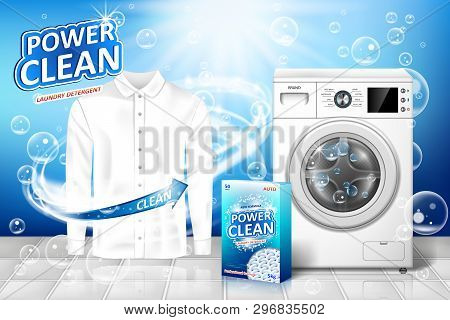 Laundry Detergent Ad. Stain Remover Banner Design With Realistic Washing Machine And Laundry Deterge