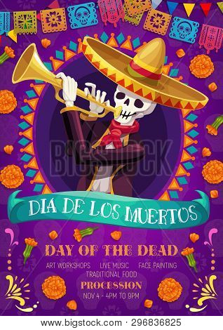 Dia De Los Muertos Mexican Holiday Party And Day Of Dead Fiesta Celebration. Vector Skeleton Skull I