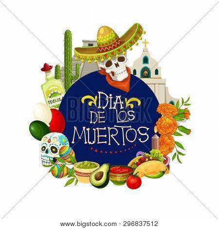 Dia De Los Muertos, Mexican Holiday Day Of Dead Traditional Celebration Poster. Vector Dia De Los Mu