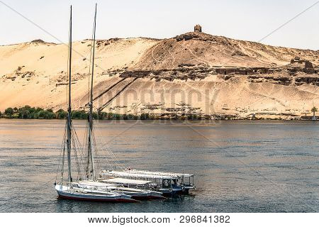Egypt Sailing Boat The Nile River Aswan West Bank Tombs Qubbet El-hawa Dome Of The Winds Tomb Of Mus