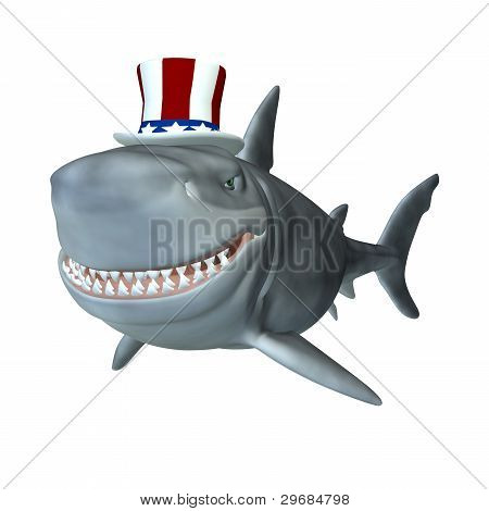 Political Shark - A smiling cartoon shark wearing a red white and blue hat. Political humor. poster