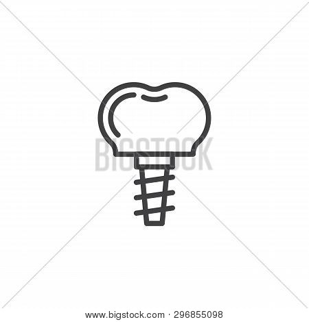 Dental Implant Line Icon. Linear Style Sign For Mobile Concept And Web Design. Implant Tooth Outline