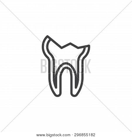 Decayed teeth line icon. Chipped tooth broke linear style sign for mobile concept and web design. Cracked tooth outline vector icon. Dentistry, stomatology and dental care symbol, logo illustration poster