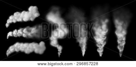 Smoking Steam. Smoke Puff From Chimney, Steaming Geysir Vapour And Explosion Cloud Isolated Vector S