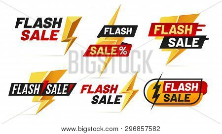 Flash Sale. Mega Sales Lightning Badges, Best Deal Lightnings Poster And Buy Only Today Offer Badge