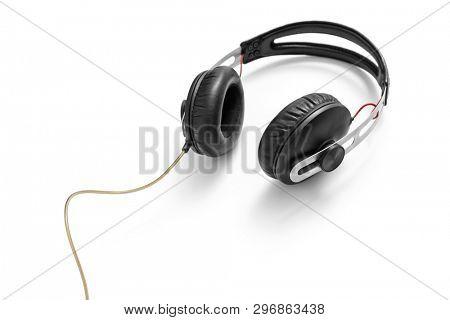 Black headphone on white background