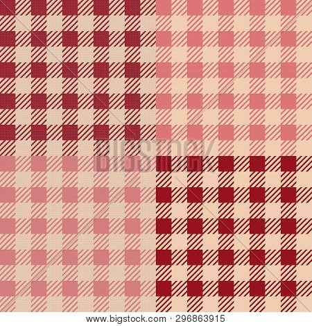 Set Of 4 Gingham Vichy Patterns For Picnic Blanket Or Tablecloth Design