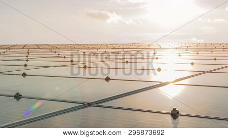 Solar Panel Installed On Building Roof  For Photovoltaic Cell Or Pv System, Renewable Energy And Sus