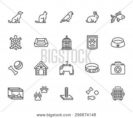 Pet Shop Flat Line Icons Set. Dog Carrier, Cat Scratcher, Bird Cage, Rabbit, Fish Aquarium, Pets Paw