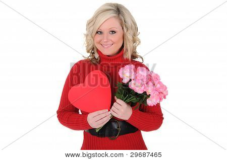 Young Woman Holding A Paper Heart And Roses.