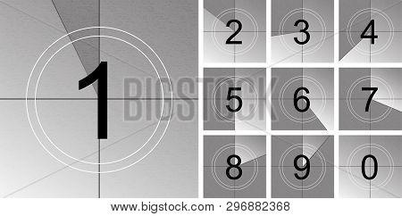 Creative Vector Illustration Of Countdown Frame. Art Design. Old Film Movie Timer Count. Vintage Ret