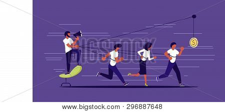 Creative concept of Boss use worker as slavery. Harnessed worker runs with all his might for a coin and drags his boss. Flat Art Vector illustration poster
