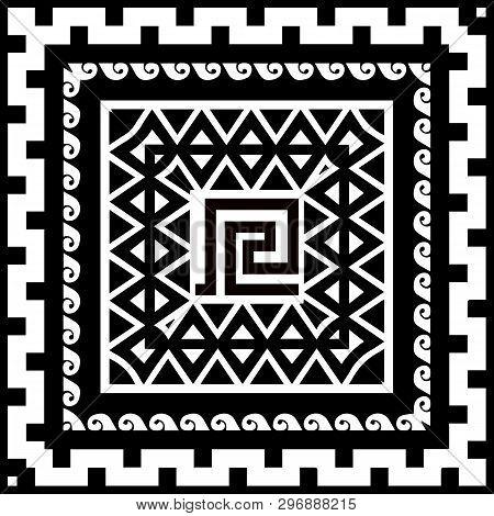 Geometric Tribal Black And White Vector Square Pattern. Greek Style Ornamental Monochrome Background