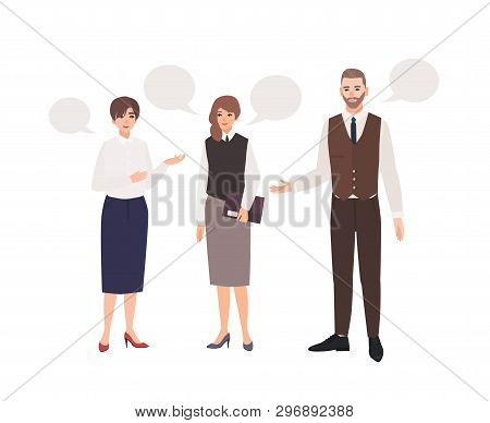 Group Of Office Workers Or Colleagues Talking To Each Other And Speech Bubbles. Dialog Between Clerk