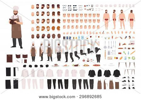 Chef, Cook Or Kitchen Worker Constructor Set Or Creation Kit. Bundle Of Body Parts, Facial Expressio
