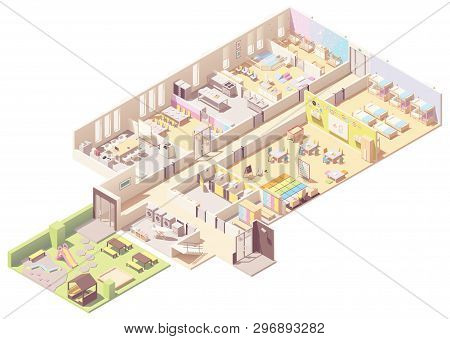 Vector Isometric Kindergarten Building Cross-section. Infant And Toddler Daycare Room, Preschool Cla