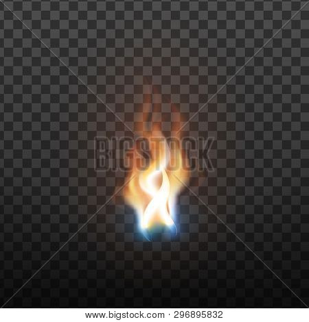 Realistic Burning Brush Fire Flame Element Vector. Hot Red Blaze Spurt Or Translucent Fire Torch Fla